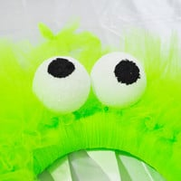 Neon green tulle halloween monster wreath