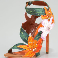 Sergio Rossi Embroidered Canvas Flower Sandal - Neiman Marcus