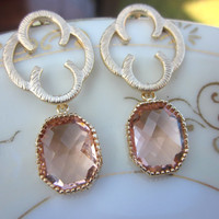 Champagne Blush Earrings Gold Clover Quatrefoil Pink Peach - Sterling Silver Posts Bridesmaid Earrings - Wedding Earrings - Wedding Jewelry