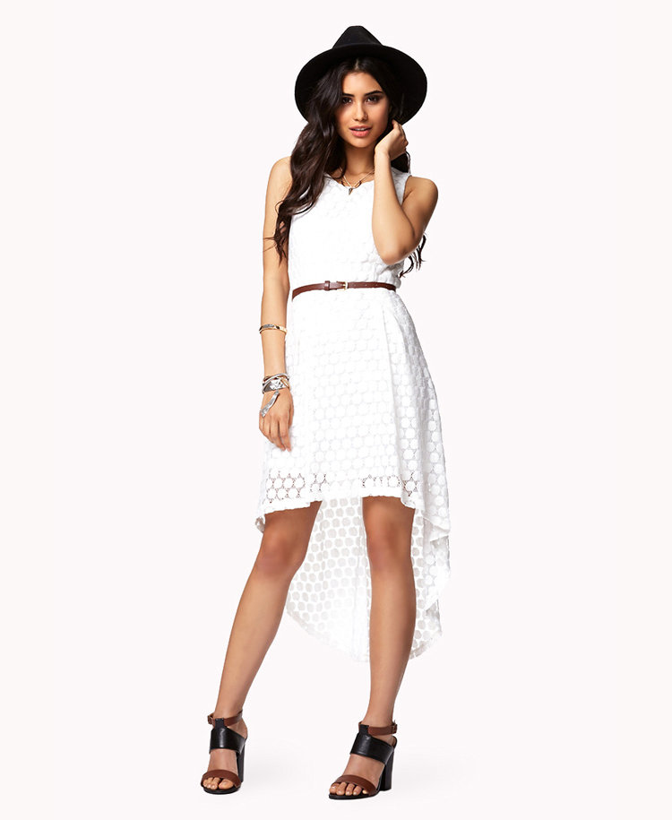 crocheted high low dress w belt from forever 21