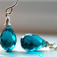 Earrings Teal Quartz Wire Wrapped Gemstones on by hamptonjewels