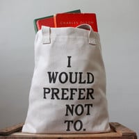 Bartleby Screen Printed Tote Bag by riverwestconcern on Etsy