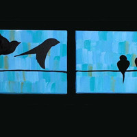 Set of 2 8x10 Aqua Love Birds Acrylic Paintings on by denisefyksen