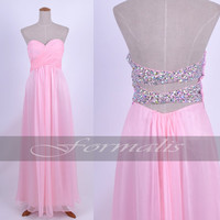 A Line Strapless Sweetheart Long Chiffon Pink Prom Dresses, Formal Gown, Evening Dresses, Wedding Party Dresses, Homecoming Dresses