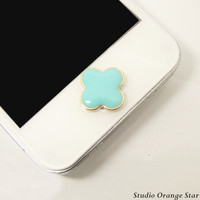 1PC Light Blue Flower Alloy Apple iPhone Home by StudioOrangeStar