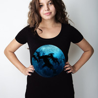 Shark Side of the Moon Women's Deep V-Neck, Night, Sea Creature, Black V neck, t-shirt, Sharp Shirter, S-2XL Available