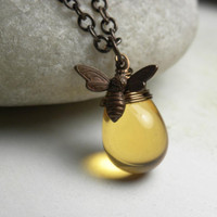 Honey Bee Jewelry Bee Necklace Vintaj Brass Wire by LunaJewelry