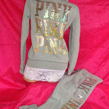 VICTORIAS SECRET SEQUIN BLING TRACK SUIT from getskinnysupplement