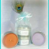 Antique Sandalwood and Lavender Flowers Scented Soy Candles as Gifted to Actress Stephanie Drapeau by The Prismatic Peacock