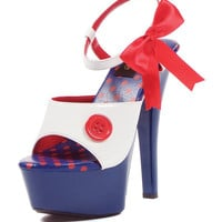 ELLIE Red White and Blue Raggedy Ann Platform Heels