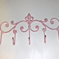 Pink Iron Fleur de lis  Wall Hook  by AquaXpressions