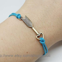 Adjustable Ocean Blue Rope Bracelet Arrow Bracelet by mooli