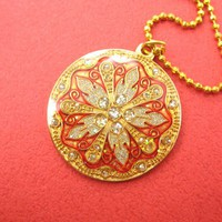 SALE - Round Floral Art Nouveau Red Gold Coin Pendant Necklace
