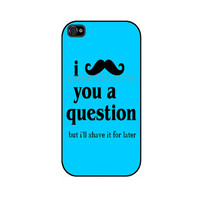 MUSTACHE blue funny iPhone 4 iPhone 4 case iPhone 4S by caseOrama