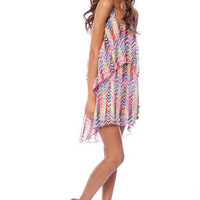 Spring Lines Dress in Pink and Yellow Multi :: tobi
