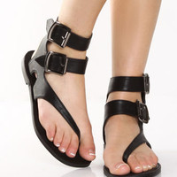 Go Max Grecian 01 Black Double Strap Gladiator Thongs - $33.00