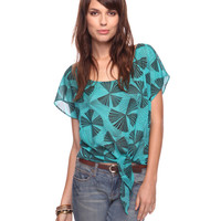 Knotted Fan Print Top | FOREVER21 - 2078967649