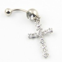 316L Stainless Steel 14G Clear Crystal Cross Dangle Navel Ring Belly Bar Stud Ball Barbell Body Piercing Kit 1.6mm 7/16 Inch