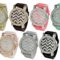 Geneva Platinum Chevron Design Silicone Watch - Mint Green