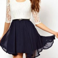 Cute Summer Chiffon Dress with Lace Insert
