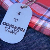 I heart cowboys dog tag handstamped with ball chain
