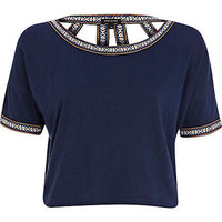 Navy cut out back western crop top