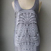 White Ancient Art Skull Print on Gray Long Tank Top by Tshirt99