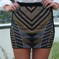 Black Tribal Stud Skirt with 3D detail from xeniaeboutique