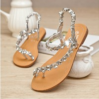 Czech Rhinestone Thongs Sandals for Summer