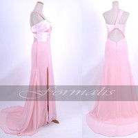 One Shoulder Sweetheart with Beaded Long Chiffon Pink Evening Dresses, Formal Gown, Evening Gown, Wedding Party Dresses, Homecoming Dresses