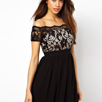 Elise Ryan | Elise Ryan Lace Skater Dress with Off Shoulder at ASOS