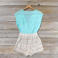 Sea Mist Romper in Mint, Sweet Women's Bohemian Clothing