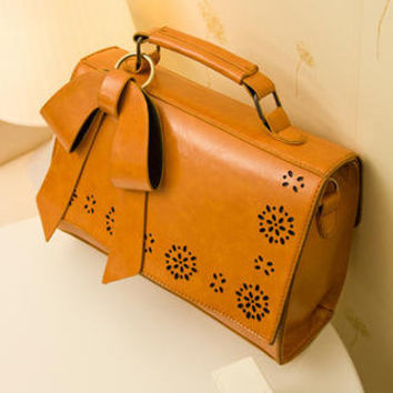 YESSTYLE: Smoothie- Bow-Accent Perforated Buckled Satchel (Camel - One Size) - Free International Shipping on orders over $150