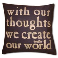 With Our Thoughts Black Pillow hemp by rossthompson on Etsy