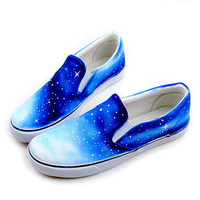 [grhmf219000024]Fashion Vintage Galaxy Starry Sky Canvas Shoes