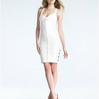 Herve Leger White Braid-Trim Bandage Dress - &amp;#36;248.00