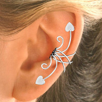 Heart Ear Cuff  Ear Wrap handmade in Sterling Silver by EarCharms