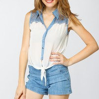 Shear Embroidered Lace Top