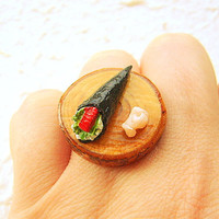 Kawaii Japanese Sushi Ring Miniature Food by SouZouCreations