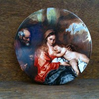 Vintage English Mother Father And Child Print Trivet
