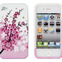 Pink Cherry Blossoms Flexible Gel Case for Apple iPhone 4, 4S (AT&T, Sprint & Verizon):Amazon:Cell Phones & Accessories