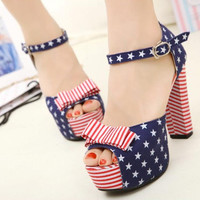 US Flag Print High Heel Sandals for Women WE061618
