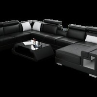 Ello Leather Sectional by Scene Furniture - Opulentitems.com