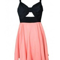 PRETTY CORAL BOW RIBBON FRONT CONTRAST DAY DRESS