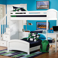 Cottage Colors White  Twin Twin Step Loft Bedroom w Desk