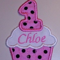 1st birthday cupcake pink with black polka dots iron on patch