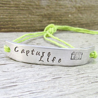 Bracelet Capture Life ONE Custom Hand Stamped Jewelry Tie On Hemp Cord Jewelry Camera Photography Photographer Gift