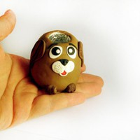 Brown Dog Candle Holder or Toothpick Holder in Polymer Clay | MagicByLeah - Candles on ArtFire