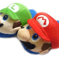 Super Mario Slippers Luigi and Mario