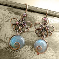 Butterfly Earrings Labradorite Contemporary Artisan Wire Jewelry | popnicute - Jewelry on ArtFire